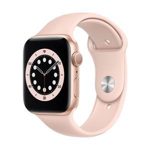 Apple Watch Series 6 GPS, Aluminium gold, 44 mm mit Sportarmband, sandrosa