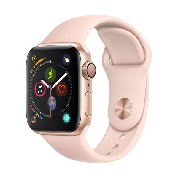 Apple Watch Series 4 Aluminiumgehäuse, Gold, mit Sportarmband, Sandrosa 40mm