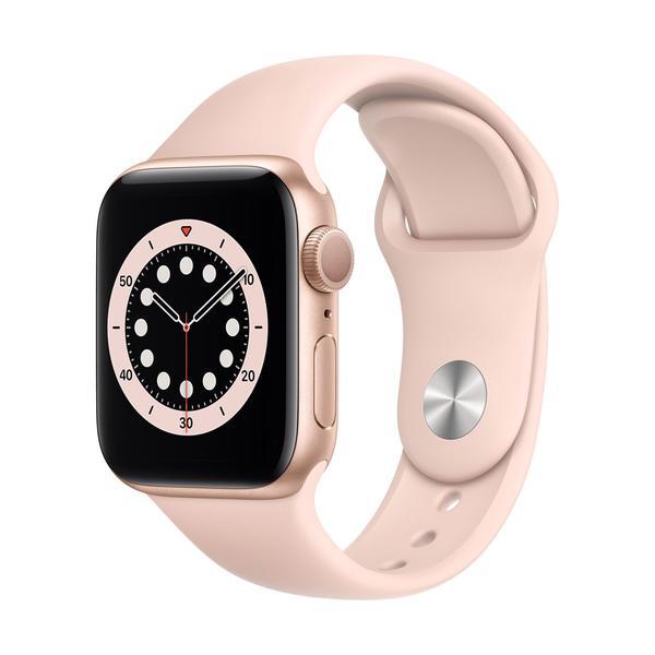 Apple Watch Series 6 GPS, Aluminium gold, 40 mm mit Sportarmband, sandrosa