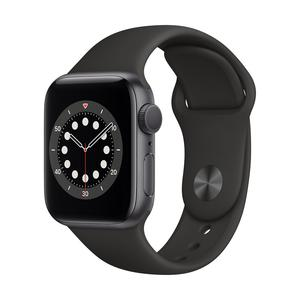Apple Watch Series 6 GPS, Aluminium space grau, 40 mm mit Sportarmband, schwarz