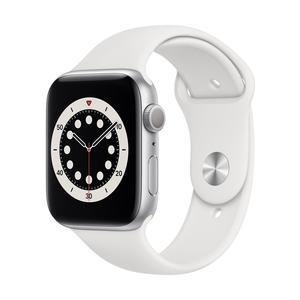 Apple Watch Series 6 GPS, Aluminium silber, 44 mm mit Sportarmband, weiß