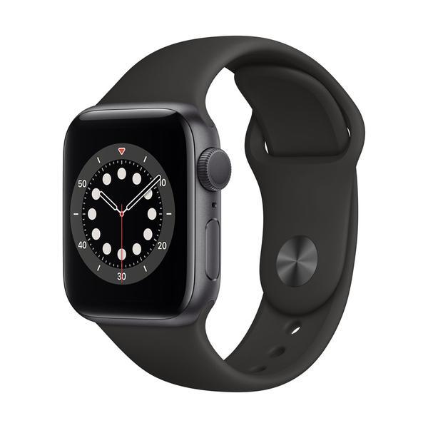 Apple Watch Series 6 GPS, Aluminium space grau, 40 mm mit Sportarmband, schwarz