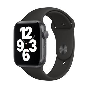 Apple Watch Series SE GPS, Aluminium space grau, 44 mm mit Sportarmband, schwarz