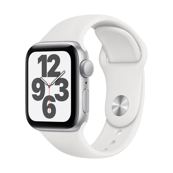 Apple Watch Series SE GPS, Aluminium silber, 40 mm mit Sportarmband, weiß