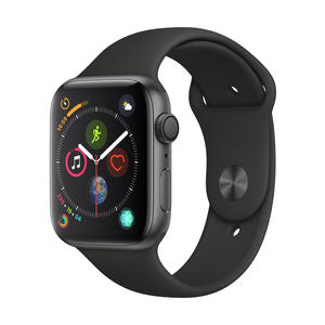 Apple Watch Series 4 Aluminiumgehäuse, SpaceGrau, mit Sportarmband, Schwarz 44mm