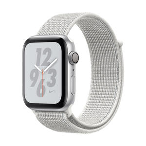 Apple Watch Series 4 Nike+ Aluminiumgehäuse, Silber, mit Nike Sport Loop, Summit White 44mm