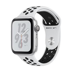 Apple Watch Series 4 Nike+ Aluminiumgehäuse, Silber, mit Nike Sportarmband, PurePlatinum/Schwarz 44mm