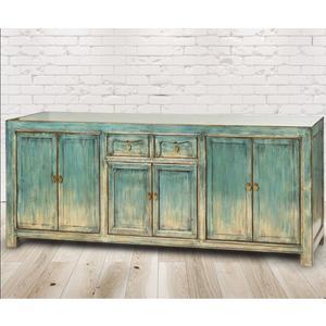 Kommode Almada Azul, Vintage Möbel, Altholz, Shabby Look, Rustikal, Altholz, Natur, Vollholz,227x45x85cm