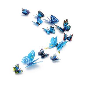 3D Schmetterlinge Magnetisch inklusive Aufkleber Wandtatoo Wandsticker 4 Flügel Wanddekorationen Dekorationen für ganze Haus - Blau