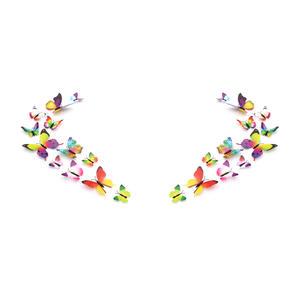 3D Schmetterlinge Magnetisch inklusive Aufkleber Wandtatoo Wandsticker 2 Flügel Wanddekorationen Dekorationen für ganze Haus - 2 Sets - Mehrfarbig