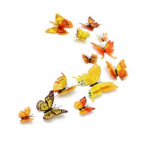 3D Schmetterlinge Magnetisch inklusive Aufkleber Wandtatoo Wandsticker 4 Flügel Wanddekorationen Dekorationen für ganze Haus - Gelb