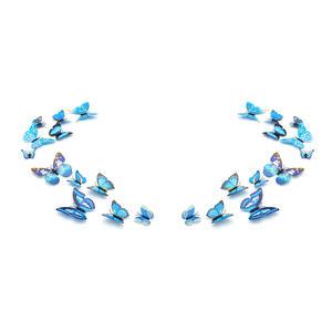 3D Schmetterlinge Magnetisch inklusive Aufkleber Wandtatoo Wandsticker 2 Flügel Wanddekorationen Dekorationen für ganze Haus - 2 Sets - Blau