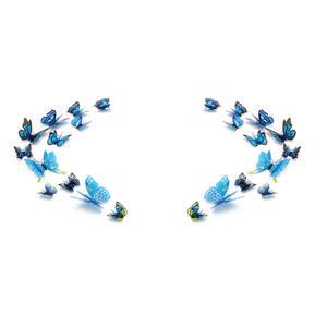 3D Schmetterlinge Magnetisch inklusive Aufkleber Wandtatoo Wandsticker 4 Flügel Wanddekorationen Dekorationen für ganze Haus - 2 Sets - Blau