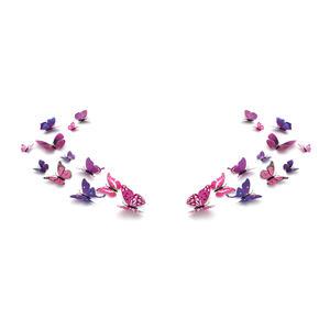 3D Schmetterlinge Magnetisch inklusive Aufkleber Wandtatoo Wandsticker 2 Flügel Wanddekorationen Dekorationen für ganze Haus - 2 Sets - Lila