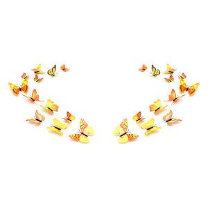 3D Schmetterlinge Magnetisch inklusive Aufkleber Wandtatoo Wandsticker 2 Flügel Wanddekorationen Dekorationen für ganze Haus - 2 Sets - Gelb