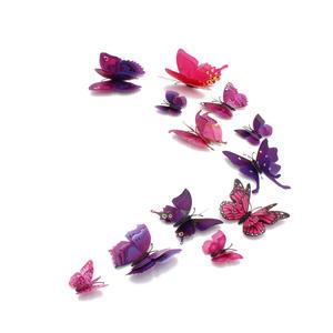 3D Schmetterlinge Magnetisch inklusive Aufkleber Wandtatoo Wandsticker 4 Flügel Wanddekorationen Dekorationen für ganze Haus - Lila