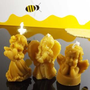 3 Engerl - Weihnachtskerzchen aus Bienenwachs