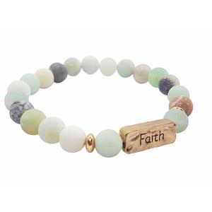 """Armband aus gefrosteten Amazonit-Perlen mit Message """"Faith"""", Energiearmband für Yoga-Fans, dehnbar, elastisch, stylish, Statement-Schmuck, bohemian-Style, Geschenk für Geburtstag"""