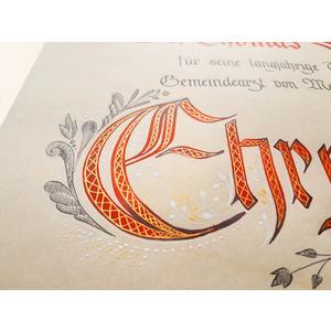 Urkunde handgeschrieben, individuell gestaltet, Ehrenurkunde, Ehrenring, Sponsion, Hochzeit, Taufe, Jubiläum