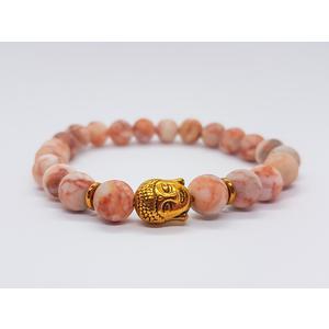 Armband aus Halbedelstein-Perlen mit goldenem Buddha, dehnbar, elastisch, stylish, modisch, passend als Geschenk für Yoga-Fans, Buddha, buddhistisch, Schmuck, Energieschmuck