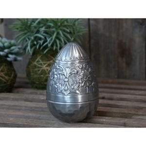Reims Ei mit Muster H13/D10 cm Silber