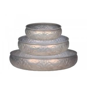 Tablett 3er Set antique zink