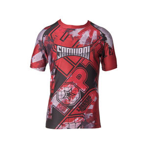 """Rash Guard """"Samurai"""" - kurzärmlig, rot-schwarz, Gr. M"""