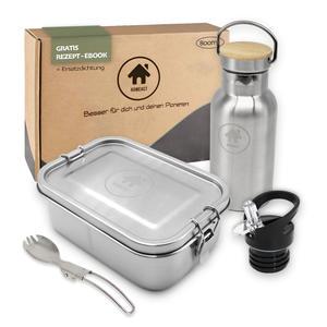Edelstahl Eco Lunchbox Flaschen Set mit Faltgöffel | Brotdose, Brotbox 800ml mit Trennwand | Bento Box für Kinder mit 350ml Thermosflasche