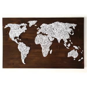 Weltkarte Fadenbild String Art 80x60cm