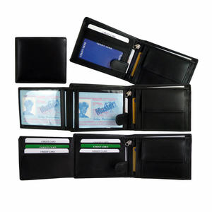 Kompakte Herren Brieftasche aus weichem Leder in Schwarz | Praktische Geldbörse aus Lamm Nappa Leder