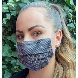 """Behelfsmaske mit Aluminium Nasenbügel, Mund-Nasen-Abdeckung, Gesichtsmaske, Behelfs - Mundschutz, waschbar, Stoffmaske, schwarz / weiß, """"Salz & Pfeffer"""""""
