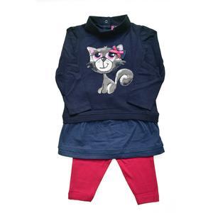 Babyset Kleid + Leggings Katze blau Größe 80