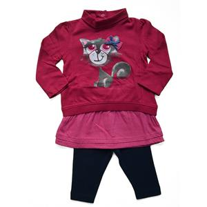 Babyset Kleid + Leggings Katze pink Größe 62
