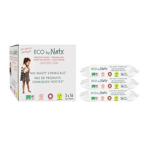 Eco by Naty Parfümfreie Baby-Feuchttücher, 168 Stück (3 Packungen mit je 56), pflanzliche kompostier