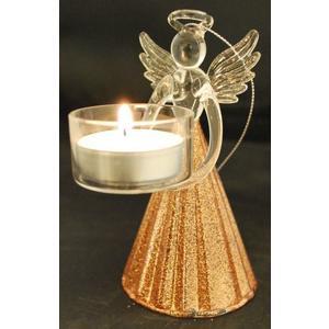 Teelichtengel Bronze mittel (Kegelförmig)