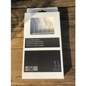 Glas Strohhalme klar gebogen 20 cm inkl. Bürste