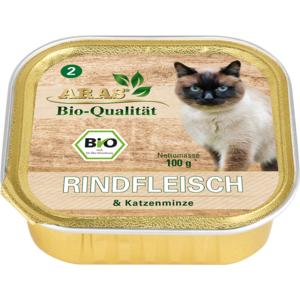 ARAS BIO Qualität - Rindfleisch & Katzenminze 100g Schale
