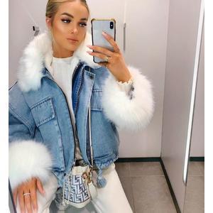Damen kurze Jeansjacke mit Kunstpelz PRONTO MODA