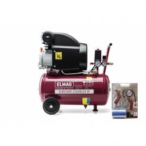 Elmag Kompressor EUROAIR 220/8/24 W - 'SET-AKTION': 1 Stk. Kompressor EUROAIR 220/8/24 W Art. Nr. 10006 und 1 Stk. ELMAG START SET 6-teilig Art. Nr. 42091