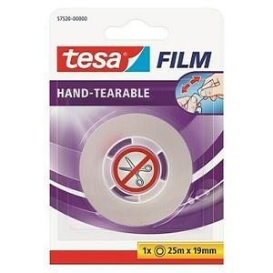 tesa Film Klebefilm, Von Hand einreißbar, 25 m x 19 mm