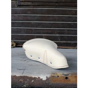 Glanzrad Retro Sattel handmade in Italy Creme - Kunstleder, gefedert, komfortabel