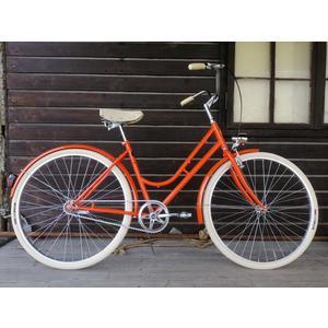Glanzrad Retrorad Singlespeed mit Rücktritt Orange - Glanzrad Sattel handmade in Italy