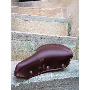 Glanzrad Retro Sattel handmade in Italy Dunkelbraun - Kunstleder, gefedert, komfortabel