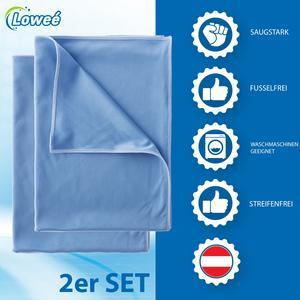 Loweé 2er Set Poliertuch aus Matrixfaser - 50x70cm fusselfreie Poliertücher für streifenfreies Glas - Mikrofaser Glastuch