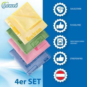 Loweé 4er Set Mikrofasertücher mit Schriftzug - 40x40cm ultraweiche Haushaltstücher für Haushalt, Hospital und Küche