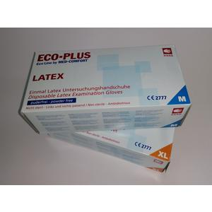 ECO-PLUS Latex Einweghandschuhe puderfrei 100 Stück (Größe M)