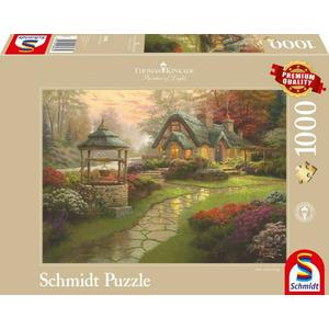 Puzzle 1000T Haus mit Brunnen - Thomas Kinkade