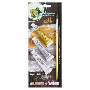 JOLLY Super Tempera 7 5ml gold silber weiß Pinsel