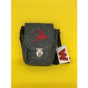 Handtasche aus Filz dgrau mit Hirsch rot