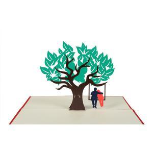 Klappkarte Baum mit Schaukel